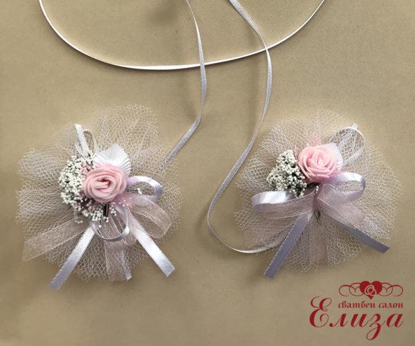 Украса за сватбени свещи и чаши с розова роза и тюл L6